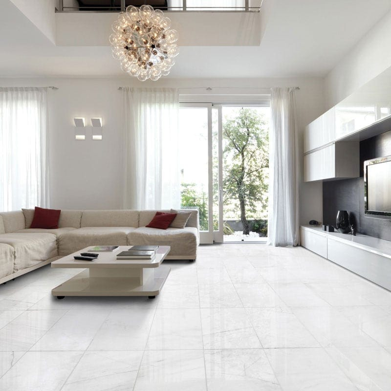 Snow White Polished Marble | MGM Tile.